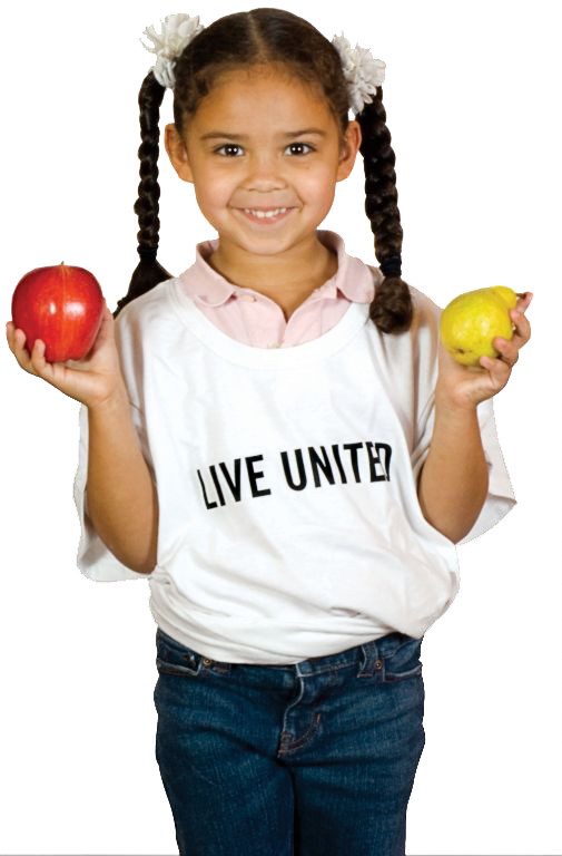 Live United little girl holding fruit