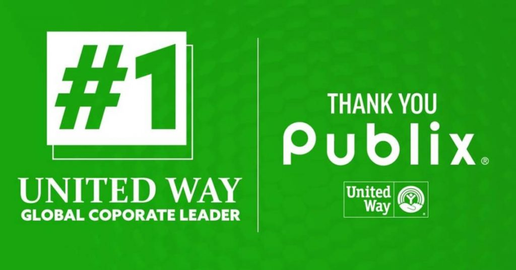 number 1 United Way Global Corporate Leader Publix